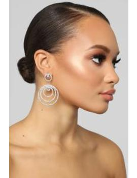 Jayna Drop Hoop Earrings   Silver by Fashion Nova