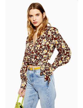 floral-wrap-crop-blouse by topshop