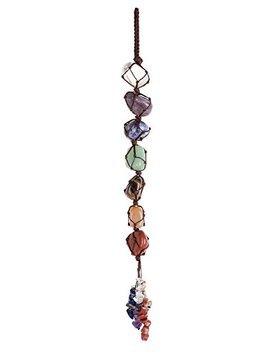 Top Plaza 7 Chkara Gemstones Reiki Healing Crystals Hanging Ornament Home Indoor Decoration For Good Luck,Yoga Meditation,Protection   Tumbled Palm Stones by Top Plaza