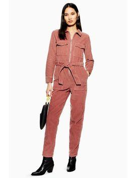 Petite Pink Corduroy Boiler Suit by Topshop