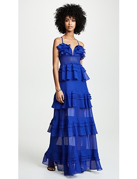 Cobalt Ruffle Tiered Dress by Glamorous