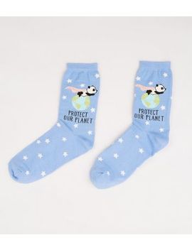 Pale Blue Protect Our Planet Panda Socks by New Look