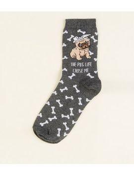 Grey Pug Life Socks by New Look