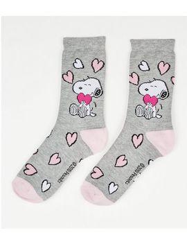 Grey Snoopy Heart Pattern Socks by New Look