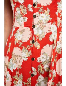 Uo Malena Red Floral Button Through Midi Dress by Urban Outfitters