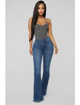 want-to-be-yours-high-rise-flare-jeans---medium-blue-wash by fashion-nova