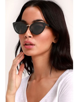 Swerve Black Cat Eye Sunglasses by Lulus