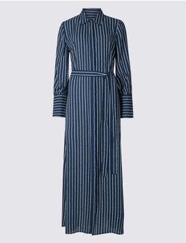 Stripe Long Sleeve Midi Shirt Dress by Marks & Spencer