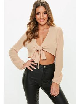 Nude Tie Front Cropped Top by Missguided