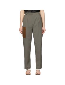 Grey Plain Weave Tablier Paperbag Trousers by Tibi