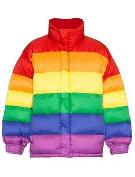 Rainbow Feather Down Puffer Jacket by Burberry
