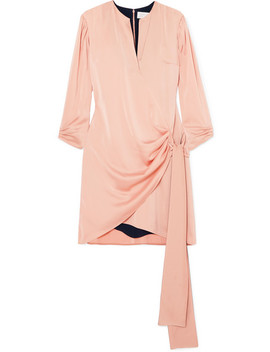 Wrap Effect Satin Crepe Mini Dress by Victoria, Victoria Beckham