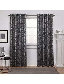 Exclusive Home Watford Distressed Metallic Print Thermal Grommet Top Curtain Panel Pair, Black Pearl, Silver, 52x84, 2 Piece by Exclusive Home Curtains