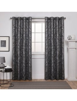 Exclusive Home Curtains 2 Pack Watford Distressed Metallic Print Thermal Grommet Top Curtain Panels by Exclusive Home