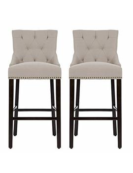 Nobpeint 30 Inch Bar Stools With Polished Nailhead Wood Legs In Tan,Set Of 2 by Nobpeint