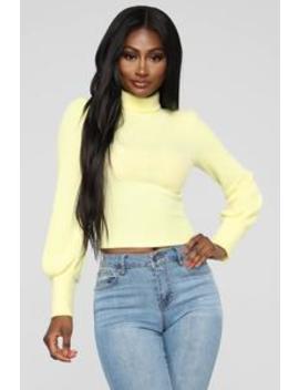 Belle Mock Neck Top   Yellow by Fashion Nova