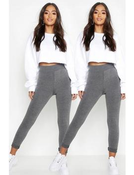 Petite Two Pack High Waist Legging by Boohoo