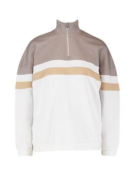 Colour Block Zip Sweater by Boohoo