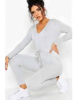 Athleisure V Neck Jumpsuit by Boohoo