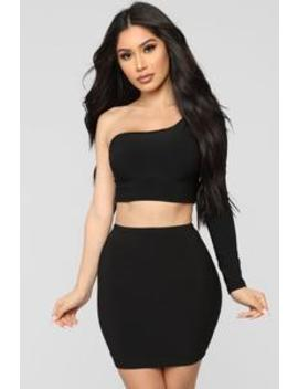 Heading Out Slinky Set   Black by Fashion Nova