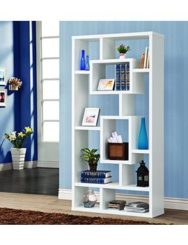10 Shelf Rectangular Bookcase White by Coaster Home Furnishings