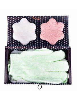 Exfoliating Glove Konjac Facial Sponge Mothers Day Gift Set   Holiday Gift Bath Accessories For Normal Sensitive Oily Acne Skin Gentle Face Scrub Cleanser And Exfoliation Skin Relaxation Kit by Divine Botanics
