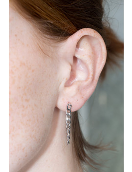 Silver Chain Link Earrings by Brandy Melville