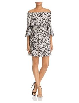 Helene Leopard Off The Shoulder Dress   100 Percents Exclusive by Le Gali
