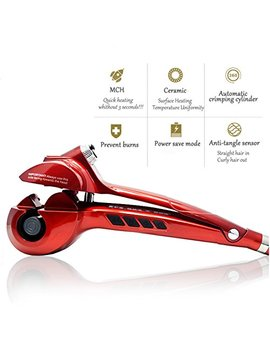Hair Curler Curling Iron By Rejawece – Professional Salon Hair Styling Curling Wand With Automatic Steam Spray   Red by Rejawece