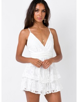 String Of Summer Playsuit White by Princess Polly