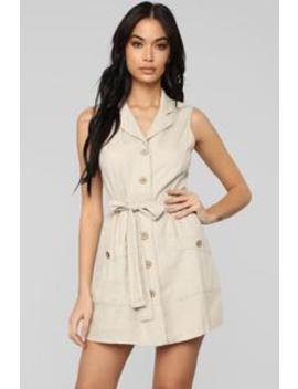 What A Life Button Up Mini Dress   Khaki by Fashion Nova