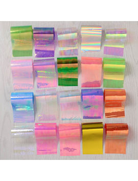20 Holographic Nail Foils Starry Sky Glitter Foils Nail Art Transfer Sticker Set by Unbranded