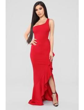 Can't Stop Loving You One Shoulder Maxi Dress   Red by Fashion Nova