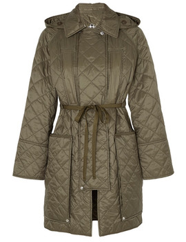 Hooded Belted Quilted Shell Coat by Burberry
