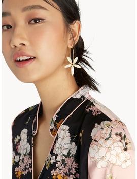 Flower Hoop Drop Earrings   Gold by Pomelo