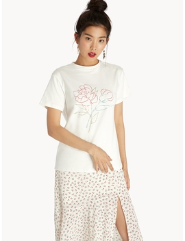 Double Flower Graphic Tee   White by Pomelo