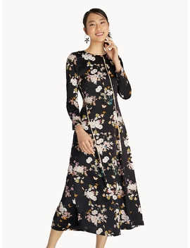 Maxi Contrast Piping Floral Flared Dress   Black by Pomelo