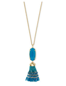 Eva Gold Long Pendant Necklace In Teal Agate by Kendra Scott