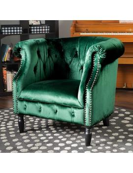 Aries New Velvet Tub Style Club Chair by Gdf Studio
