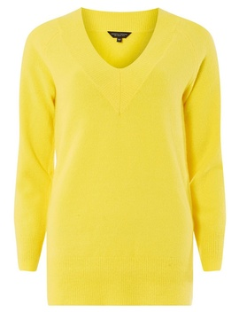 Yellow V Neck Jumper by Dorothy Perkins