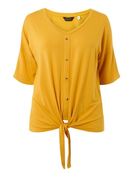 **Dp Curve Yellow Button Down Knot Top by Dorothy Perkins