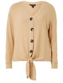 Camel Button Through Long Sleeve Top by Dorothy Perkins