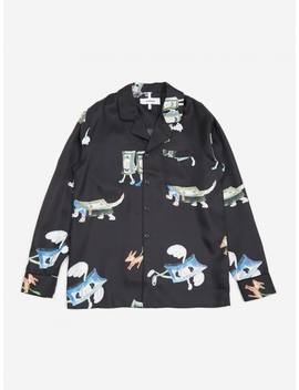 Richman All Over Print Silk Shirt Jacket   Black by Soulland