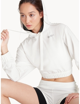Push Up Front Tie Crop Hoodie   White by Pomelo