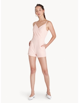 V Neck Wrap Accent Romper   Pink by Pomelo