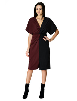 Twist Front Colorbock Cotton Knit Dress by Eshakti