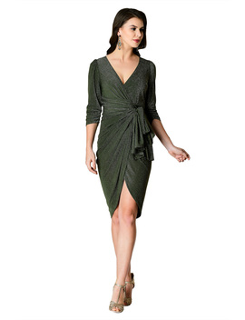 Ruched Lurex Knit Wrap Dress by Eshakti