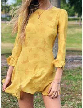 Yellow Cotton Print Detail Flare Sleeve Ruffle Hem Women Mini Dress by Choies