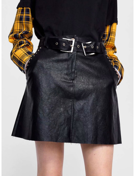 Black High Waist Stud Embellished Women Pu Mini Skirt by Choies