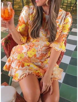 Yellow Chiffon Floral Print Ruffle Trim Flare Sleeve Lace Mini Dress by Choies
